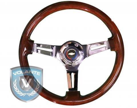 Chevy Tri Color Volante S6 Sport Steering Wheel Kit, with Slotted Chrome Spokes & Mahogany Grip