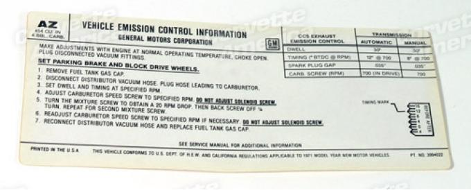 Corvette Decal, Emission 454/425 HP, 1971