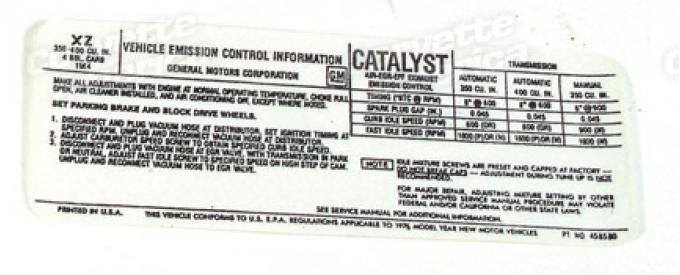 Corvette Decal, Emission L48 California, 1976