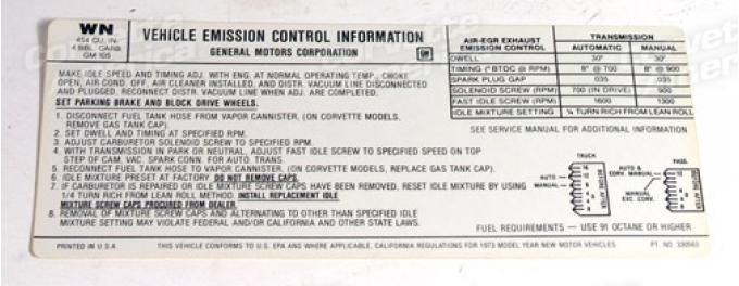 Corvette Decal, Emission 454 Federal, 1973