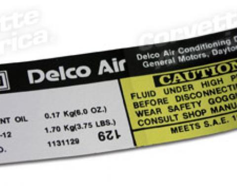 Corvette Decal, Air Conditioning Compressor Delco, 1977-1978