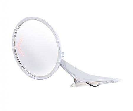 United Pacific Round Exterior Mirror w/LED Turn Signal For 1966-72 Chevy Passenger Car - L/H 110825