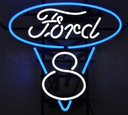 Neonetics Standard Size Neon Signs, Ford V8 Blue and White Neon Sign