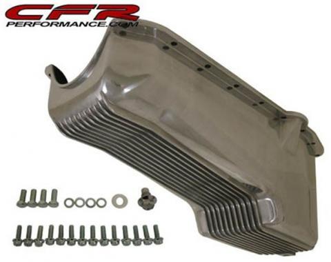 Chevy V8 Small Block Aluminum Stock Capacity Oil Pan, Driver Dipstick, Retro Finned