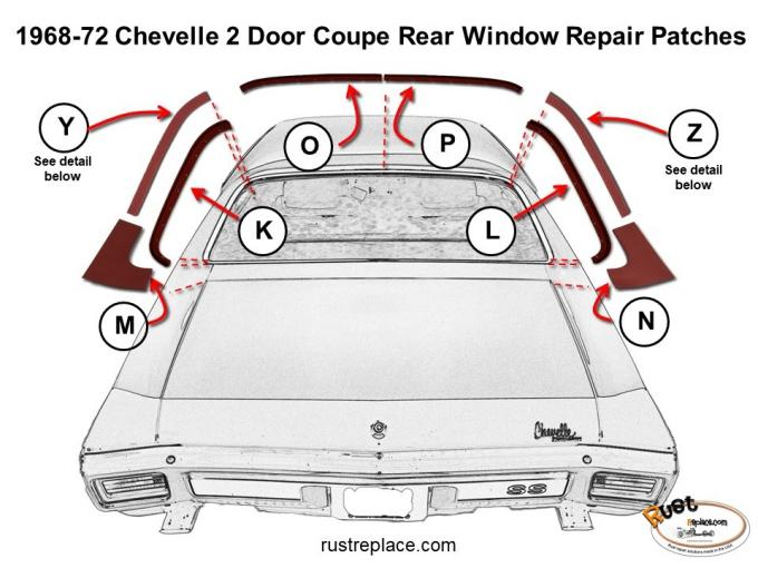 Chevelle Roof Window Repair Channel Half, Right, 1968-1972