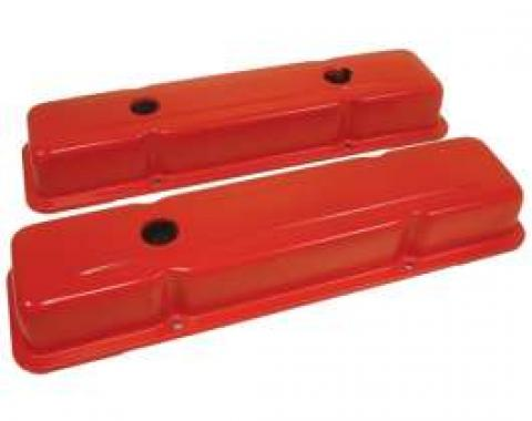 Chevy Small Block Valve Covers, OEM Style, Orange, 1958-1986