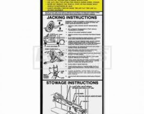 Chevy Or GMC Jacking Instructions Decal, S-10 & S-15, Including Blazer & Jimmy, 1982-1986