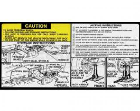 Chevy Or GMC Jacking Instructions Decal, 1978-1979