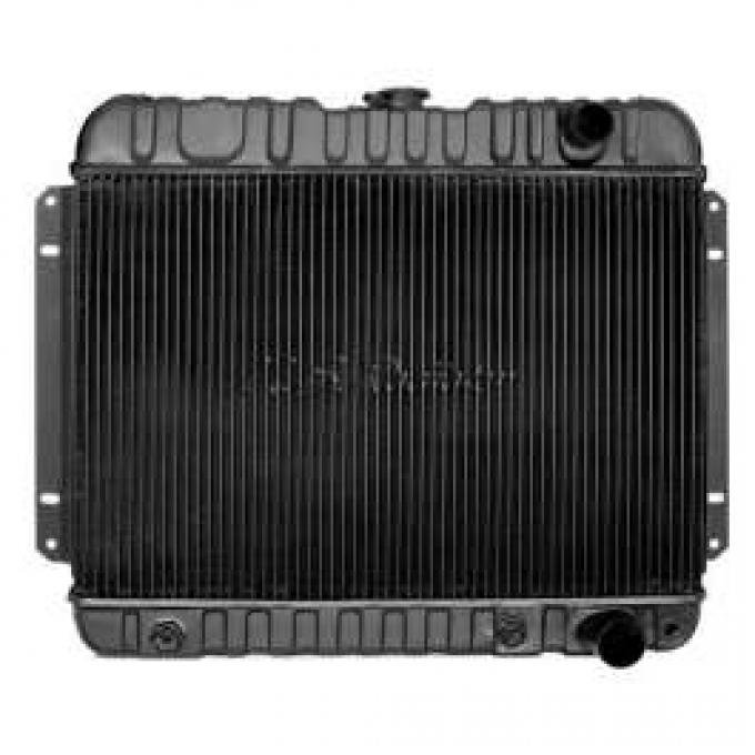 Chevelle Radiator, Small Block, 4-Row, Straight Outlet, For Cars With Manual Transmission & Without Air Conditioning, Desert Cooler, U.S. Radiator, 1964-1965