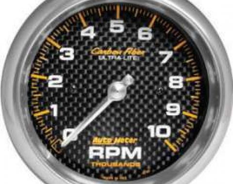 Chevelle Tachometer, In-Dash Mount, 10,000 RPM, Carbon Fiber Series, AutoMeter, 1964-1972