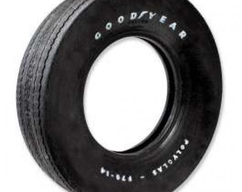 Chevelle Tire, F70/14 Raised White Letter, Goodyear Custom Wide Tread, 2/2 Polyglas Bias Ply, 1970