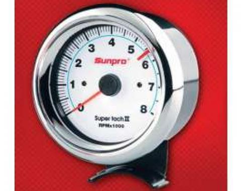 Chevelle Tachometer, Sunpro Super Tach II, White Face, 1964-1972