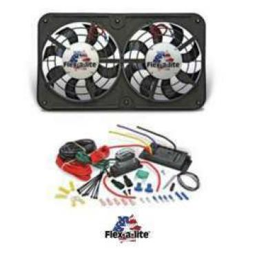 Chevelle Engine Cooling Fan Kit, Electric, Universal, Dual, 2500 CFM, Low Profile, Flex-a-lite, 1964-1972