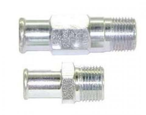 Chevelle Heater Hose Fittings, Small Block, Plated, 1964-1968