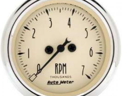 Chevelle Tachometer, 7000 RPM, Antique Beige, AutoMeter, 1964-1972