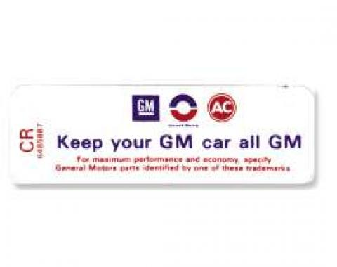 Chevelle Air Cleaner Decal, Keep Your GM 350/3002 Barrel, 1969