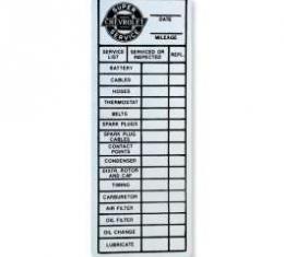 Chevelle Tag, Aluminum Service, 1964-1965