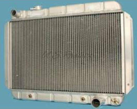 Chevelle Radiator, 25 Core, Polished Aluminum, For Cars With Automatic Transmission, U.S. Radiator, 1964-1967