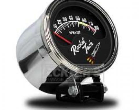 Tachometer, Retro Style Rocket Tach, Half Sweep, With Color Changing Rocket Booster