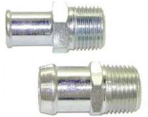 Chevelle Heater Hose Fittings, Small Block, Plated, 1969-1972