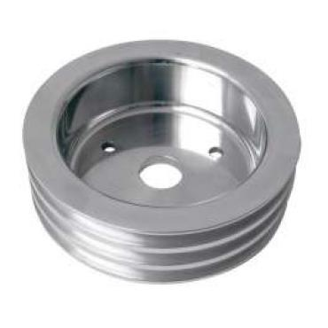 Chevelle Crankshaft Pulley, Small Block, Triple Groove, Polished Billet Aluminum, For Cars With Short Water Pump, 1964-1968