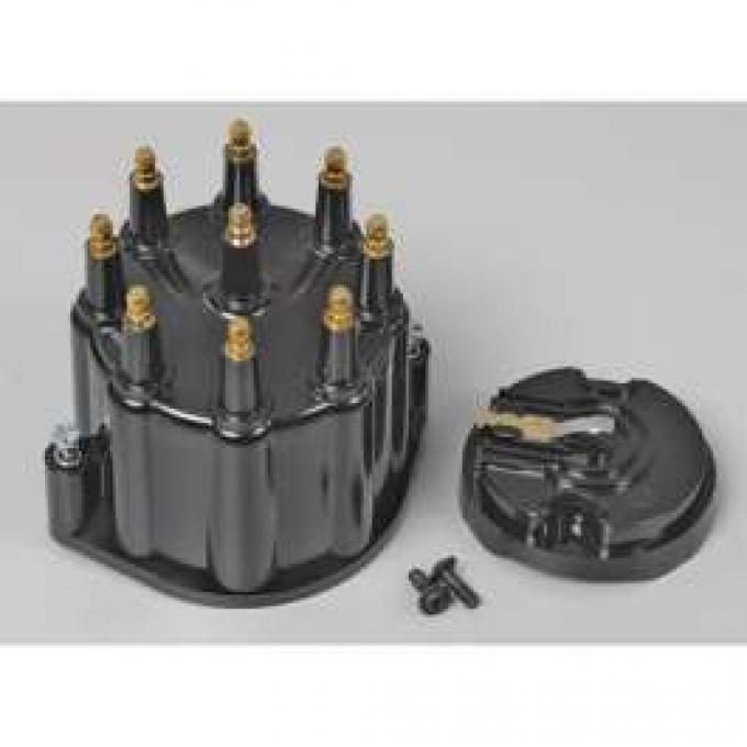 Chevelle & Malibu Distributor Cap & Rotor, Black, With Male Terminals, For Billet Flame-Thrower Distributor, PerTronix,1964-1983