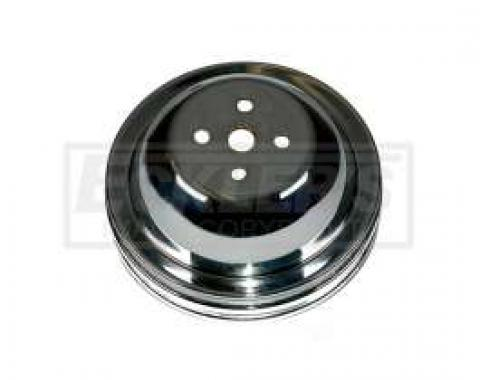 Chevelle Water Pump Pulley, Big Block, Double Groove, Chromed Billet Aluminum, For Cars With Short Water Pump, 1964-1968
