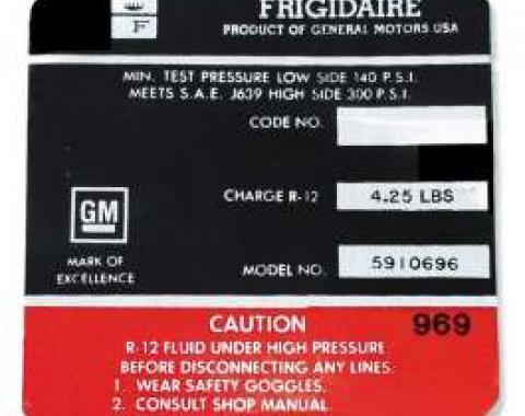 Chevelle Decal, Frigidaire Air Conditioner Compressor, 1964-1965