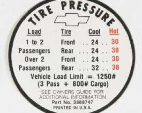 Chevelle Decal, Tire Pressure El Camino, 1966
