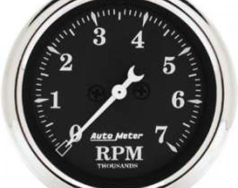 Chevelle Tachometer, 7000 RPM, Old Tyme Black, AutoMeter, 1964-1972