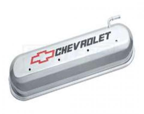 LS V8, Valve Cover, Polised With Recessed Red And Black Emblems