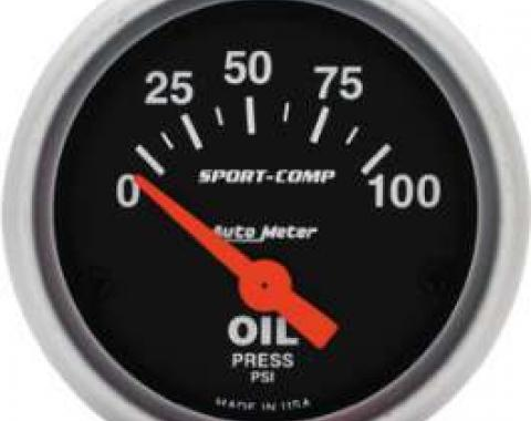 Chevelle Oil Pressure Gauge, Electric, Sport-Comp Series, Autometer, 1964-1972