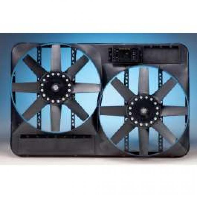 Chevelle Engine Cooling Fan Kit, Electric, Universal, Dual,4600 CFM, With Adjustable Thermostat, Flex-a-lite, 1964-1972