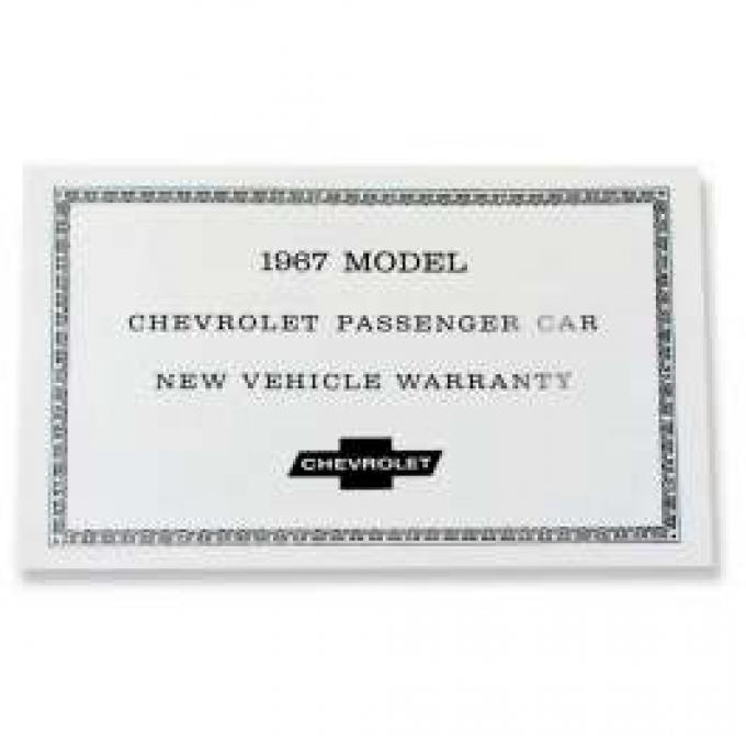 Chevelle Vehicle Warranty Certificate, 1967