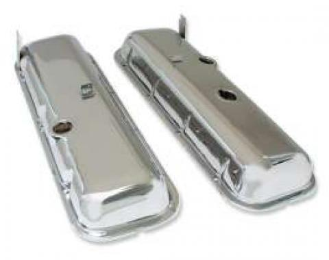 Chevelle Valve Covers, Big Block, Chrome, Without Drip Rail, For Cars Without Power Brake Booster, 1965-1972