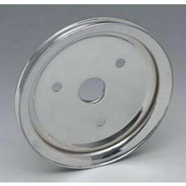 Chevelle Crankshaft Pulley, Small Block, Single Groove, Chrome, 1964-1968