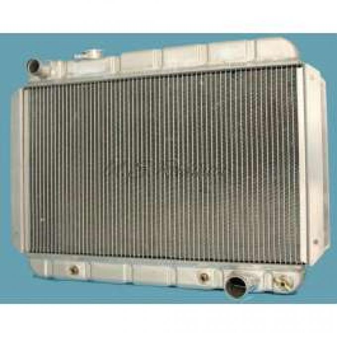 Chevelle Radiator, 25 Core, Polished Aluminum, For Cars With Automatic Transmission, U.S. Radiator, 1964-1967