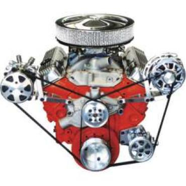 Chevelle Serpentine Pulley Kit, Small Block, With Polished Wide Brackets & Short Water Pump, For Cars With Air Conditioning & Power Steering, 1964-1972