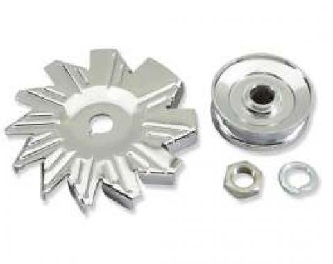 Chevelle Alternator Fan & Pulley Kit, Single Groove, Chrome, 1964-1972
