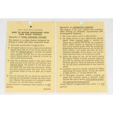 Chevelle Literature, Cruise Control Instruction Tag, 1970-1974