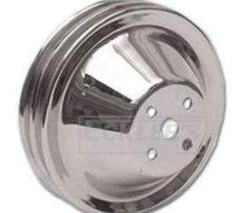 Chevelle Water Pump Pulley, Small Block, Double Groove, Chromed Billet Aluminum, For Cars With Short Water Pump, 1964-1968