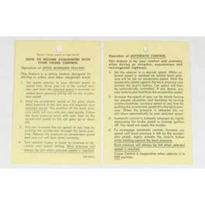 Chevelle Literature, Cruise Control Instruction Tag, 1965-1969