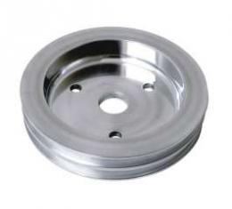 Chevelle Crankshaft Pulley, Big Block, Double Groove, Polished Billet Aluminum, For Cars With Short Water Pump, 1964-1968