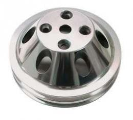 Chevelle Water Pump Pulley, Small Block, Double Groove, Polished Billet Aluminum, For Cars With Long Water Pump, 1969-1972