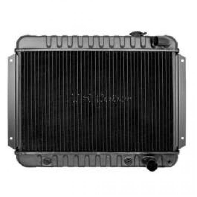 Chevelle Radiator, Small Block, 4-Row, Straight Outlet, For Cars With Manual Transmission & With Or Without Air Conditioning, Desert Cooler, U.S. Radiator, 1964-1965