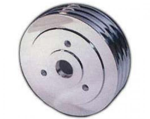 Chevelle Crankshaft Pulley, Big Block, Triple Groove, Polished Billet Aluminum, For Cars With Short Water Pump, 1964-1968