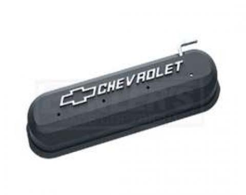LS Series Motors, V8, Valve Cover, Black Crinkle With RaisedEmblems