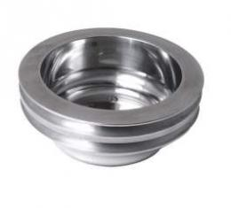 Chevelle Crankshaft Pulley, Small Block, Double Groove, Polished Billet Aluminum, For Cars With Long Water Pump, 1969-1972