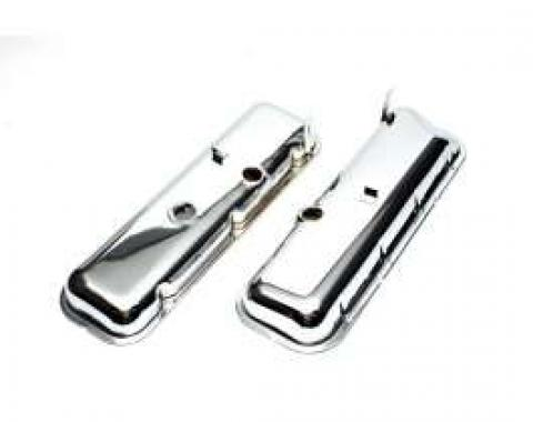 Chevelle Valve Covers, Big Block, Chrome, Without Drip Rail, For Cars With Power Brake Booster, 1965-1972