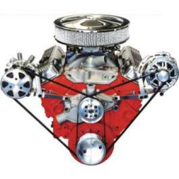 Chevelle Serpentine Pulley Kit, Small Block, With Polished Wide Brackets & Short Water Pump, For Cars With Air Conditioning & Without Power Steering, 1964-1972